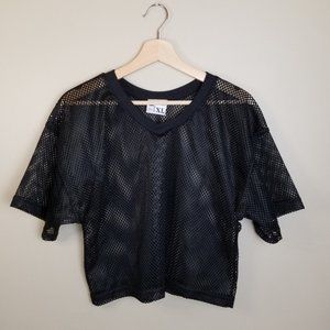 Vintage Black Mesh Jersey Oversized Tee Crop Top